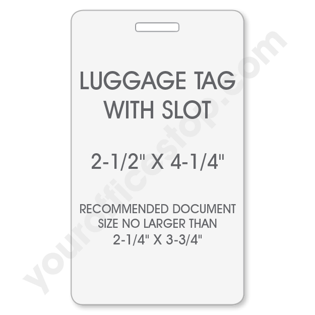 Luggage Tag Laminating Pouch with Slot Hole Punch